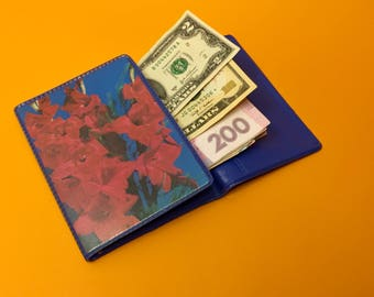 Vinyl wallet vintage gift Red flowers Blue purse Custom wallet USSR