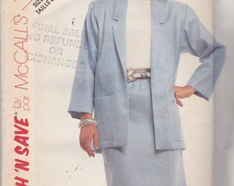 McCalls 2966 Vintage Pattern Womens Jacket and Skirt  Size 14,16,18 UNCUT