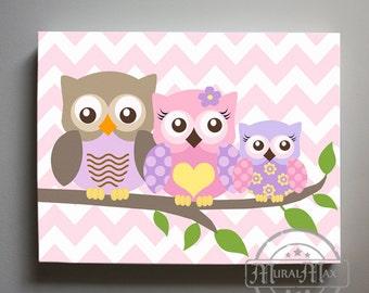 Purple and Green Owl Decor Girls wall art - Owl canvas art - Owl Nursery - Owl Childrens Art - Childrens Room -Nursery wall art