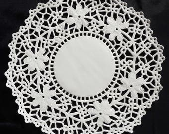 "4.5"" or 5.5"" WHITE Crochet PAPER Lace DOILIES, White Round Doilies, Flower Paper Doilies, 4 inch Doily, 5 inch doily, Lacy Paper Doily"