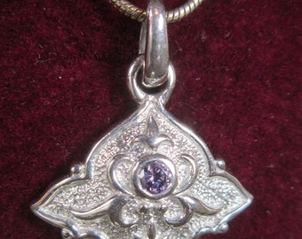 Vintage Silver Pendant and Chain With Rhinestone Accent - N-349