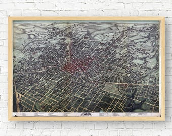 Atlanta Vintage Map Print, Downtown Atlanta, Midtown Atlanta,