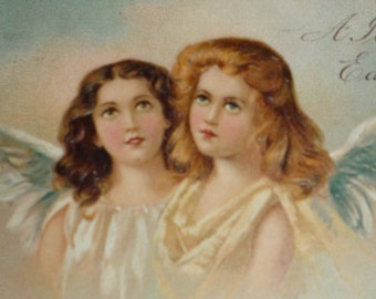 NEW Listing**Two Pretty Angels Antique Langsdorf Easter Postcard