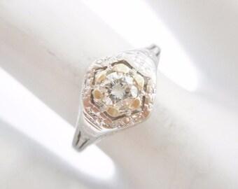 Diamond Ring, Vintage Diamond Ring, Engagement Ring, 18k White Gold .20 Carat Round Diamond Vintage Setting Ring Sz 5.75 #1850