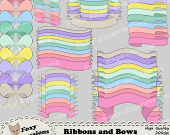 Stitched Ribbons and Bows digital clip art pack comes in soft pastel colors. 2 bows, 5 ribbons each in 10 colors 70 pieces total. Value pack