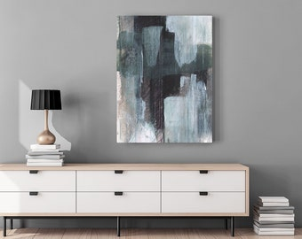 Large Abstract Painting Giclee Canvas Print - Modern Contemporary Art - Gray Black Abstract Cityscape Print - Urban Minimalist Oversized Art