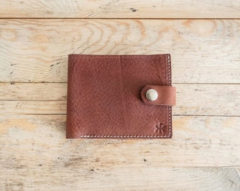 BROWN leather coin WALLET // Waxed bifold wallet purse // Mens leather coin purse // Credit card holder // Card case // Leather wallets WAX