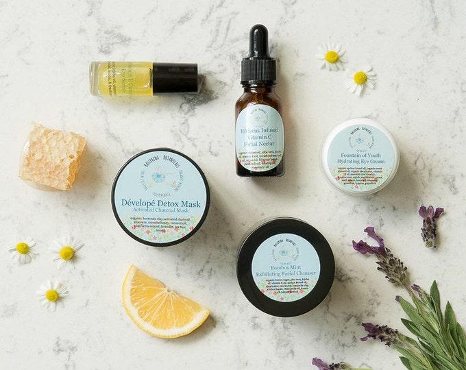 Organic Spa Facial Set | Spa Gift Set with Facial Scrub, Face Mask, Facial Serum, Organic Eye Cream, & Eye Serum for Natural Skin Care
