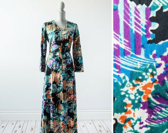 Vintage Maxi Dress Boho Dress Floral Maxi Dress 70s Dress Boho Maxi Dress Long Sleeve Hippie Long Dress Tropical Hippy Print Size Large