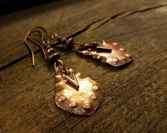 Copper Earrings, Boho Earrings, Rustic Earrings, Southwestern Earrings, Tribal Earrings, Ethnic Earrings, 2 1/4 inches
