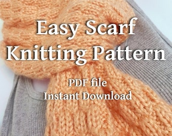Knitting Pattern PDF Textured Scarf Beginner Knitter EASY Scarf Tutorial You Can Sell What You Make Instant Download PDF Format