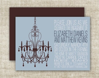 Chandelier BRIDAL SHOWER INVITATIONS In Blue and Brown Custom Digital Printable Cards - 90576672