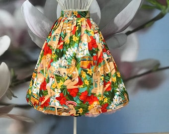 Tropical Pinup Pleated Skirt