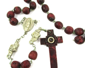 Vintage Our Lady of Guadalupe Stanhope Peep Hole Rosary,Rose Scent Wood Bead Rosary w/ El Santo Niño De Atocha Medal,MISSING 1 Bead!