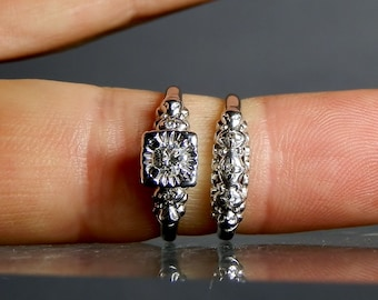 Vintage Diamond Engagement and Wedding Ring 14K White Gold Size 5 and 6 Vintage Diamond Ring Current GIA Appraisal Included Ladies Rings