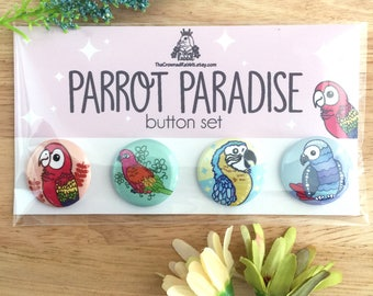 Parrot Paradise Button Set, Buttons, Cute Buttons, Button Bundle