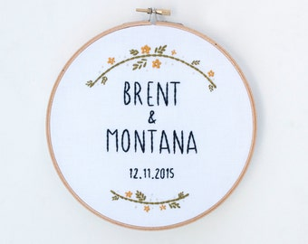 Wedding Hoop Art, Custom Embroidery, Anniversary Gift, Marriage, Couple's Name