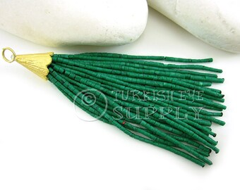 Green Marbled Heishi Beaded Tassel, Tassel Earring, Bohemian Jewelry, Boho Tassel Jewelry, Boho Chic Jewelry, Tassel Necklace