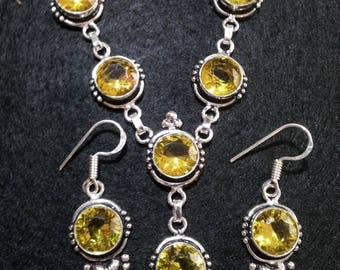 Citrine Necklace and Earrings Set, Crystal Jewelry Set,citrine earrings,yellow necklace and earrings,crystal healing jewelry,success crystal