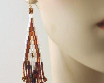 Beaded Tassel Earrings - Beaded Earrings - Copper Earrings - Seed Bead Earrings - Gold Earrings - White Earrings - handmade Earrings
