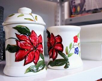 Floral Porcelain Sugar Bowl Set