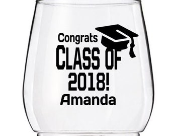 2018 Graduation Party Cup Decal,  Personalized Graduation Wine Cup Decal, Graduation Beer Mug Decal, Cups NOT Included