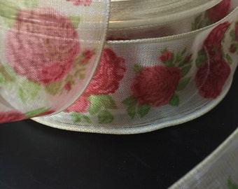 Vintage Ribbon, Sheer Ribbon, Rose Ribbon, Rose garden Ribbon