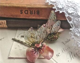 Pretty Flower Faerie wing hair adornment