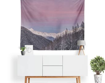 Tranquil Skies Tapestry   Nature Tapestry   Mountain Wall Tapestry   Sunset   Sky   Forest Tapestry   Tree Wall Decor   Dorm Room Decor