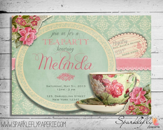 Vintage tea cup bridal shower baby shower birthday party like this item filmwisefo Gallery