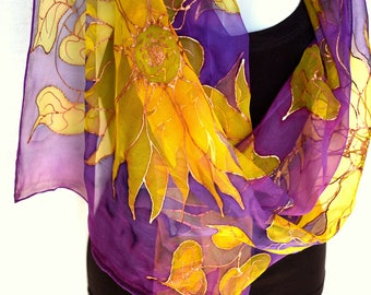 Sunflowers, Silk Scarf, Hand Painted Silk Scarf, Purple Gold Yellow, Floral Chiffon Silk Scarf