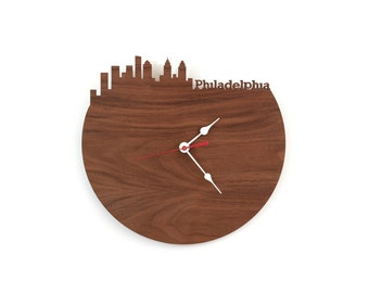 Walnut Philadelphia Modern Clock - City Skyline Wall Clock - Pennsylvania