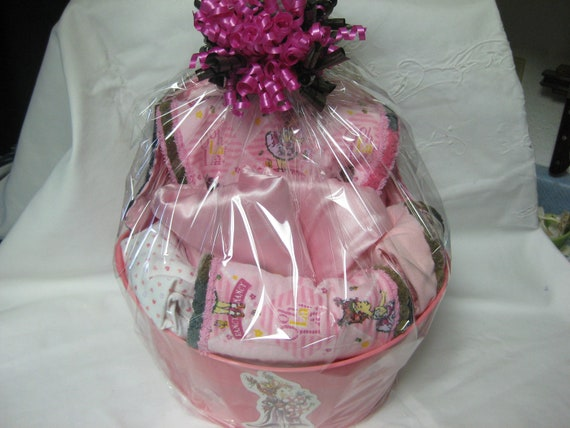 Fancy Nancy Baby Gift Basket Blanket 2 Burping Cloths Matching One Piece Pretty and Pink Flannel & Satin