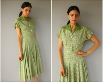 Vintage 1940s Dress • 40s Dress • 1950s Day Dress • 1950s Gingham Dress • 1950s Cotton Dress • 50s Dress • 1950s Marion McCoy Dress -(small)