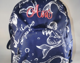 Monogrammed Mermaid Backpack, Personalized Mermaid Backpack, toddler backpacks, toddler backpack girl, mini backpacks girl, girl backpacks