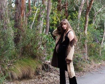 Mongolian Sheepskin Coat - Boho Gypsy Jacket - Shearling Afghan Coat - Penny Lane Coat - Vintage Shearling Coat - Duffle Coat