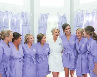 Wedding Gift - Bridesmaid Robes - Personalized Short Kimono Waffle Weave Robes, Bridesmaid Gift, Embroidered Bridal Robes