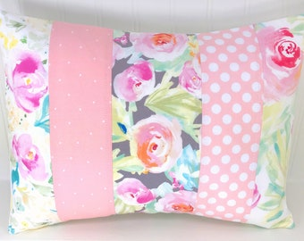 Pillow Cover, Decorative Pillows, Cushion Cover, Throw Pillows, Baby Girl, 12x16, Nursery Decor, Boho, Floral, Blush, Pink, Gray, Mint