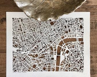 "london hand cut map, 14""x11"""