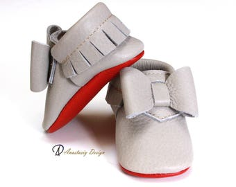 Louboutin Inspired Taupe Grey Fringed Baby Moccasins With Bow, Red Sole Moccasins, Baby Girl Moccasins, Baby Girl Shoes