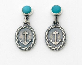 Amazonite Sailor earrings - sterling silver and amazonite dangle earrings