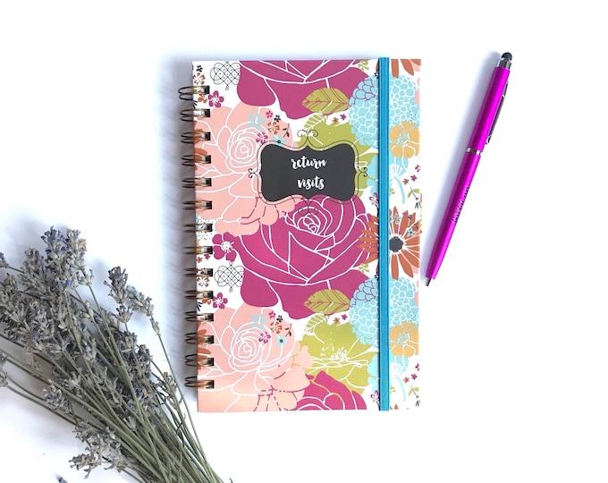 Slim Colorful Blooms Handmade Return Visit Book- TEN