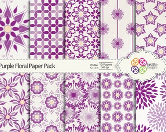 Floral Digital Paper Purple Digital Scrapbooking Paper Pack - 10 papers - 12x12 in - 300dpi, Commercial Use, Instant Download