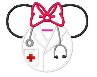 Character Inspired Ears with bow Doctor Medical  Embroidery Applique Design