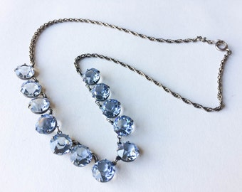 Blue crystal necklace | Sterling silver necklace | Blue crystal jewelry | Gifts for her | Mother's day gift | Vintage crystal necklace |