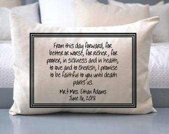 Personalized Pillow, Wedding vows, fiance gift, engaged gift, 2nd anniversary, kneeling pillow
