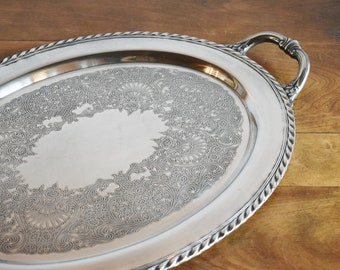 Silver Butler's Tray, Wm Rogers 480 Silver Plated Oval Serving Tray with Handles, Silver Platter Wedding Bar Vanity