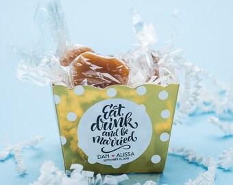 Caramels / unique wedding favor / wedding favors / edible favors / cheap wedding favors / bridal shower favor / personalized gift