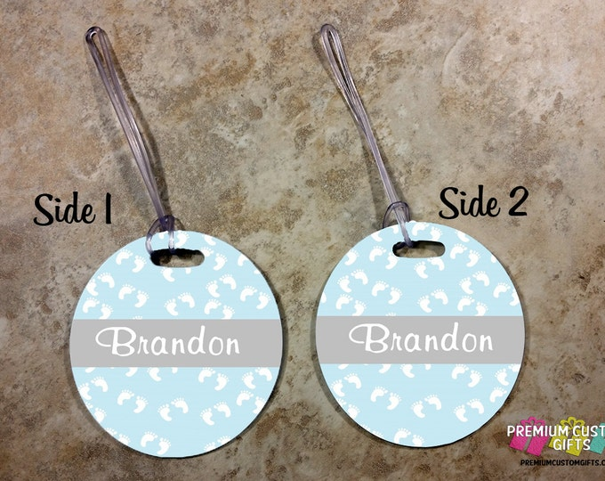 Round Personalized Baby Bag Tag - For Boy or Girl - Travel Luggage Tag - Family Bag Tags - Bag Custom Tag - Personalized Tag - Design #BT107