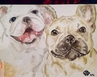 Custom Pet Portrait , DOUBLE, watercolour